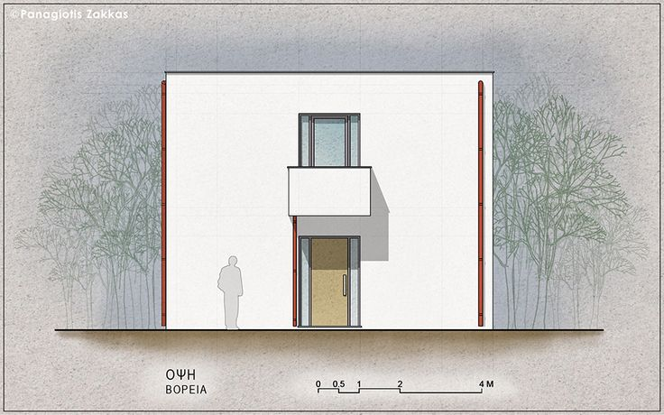 Low-Cost Standardised House 90 sqm, North Elevation - www.pzarch.gr