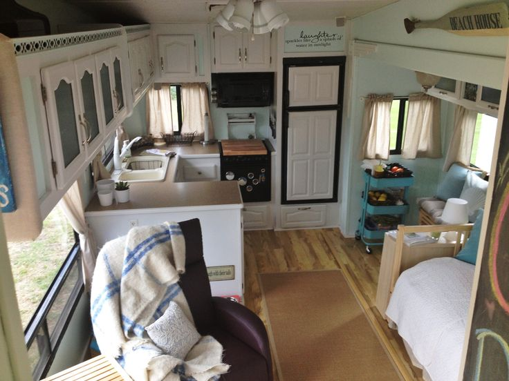 Helpful Step By Step That Covers Cosmetic Demo, Painting, Installing  Laminate Floors And Replacing Furniture For A Beach Inspired RV.