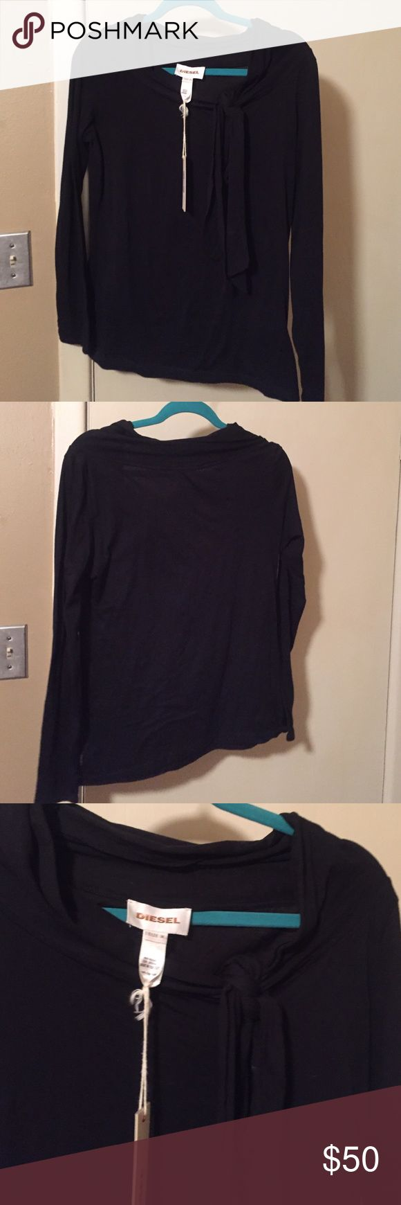 Basic black tee with side tie Long sleeve basic black tee shirt with a side tie. Fitted Diesel Tops Tees - Long Sleeve