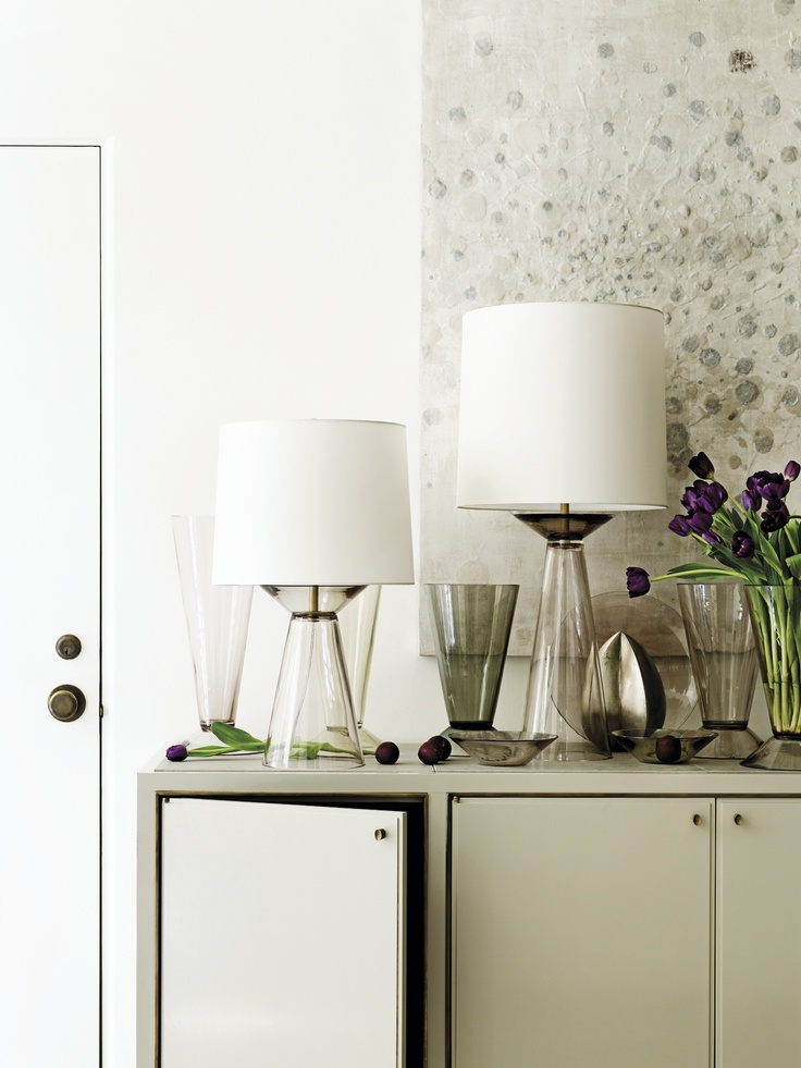 Shadow And Stone Server, Decorated With Lighting And Accessories From The Barbara  Barry Collection