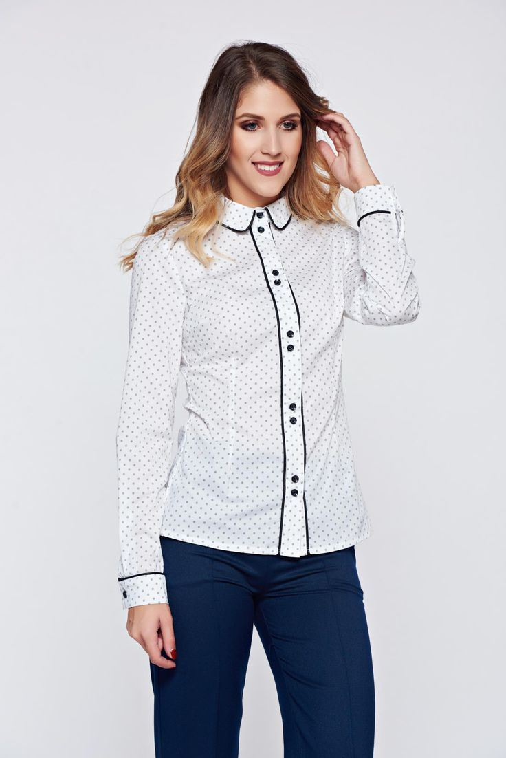 LaDonna white cotton office women`s shirt dots print, women`s shirt, easy cut, the sleeve is attached with a button, with buttons, long sleeves, print details, thin fabric, slightly elastic cotton
