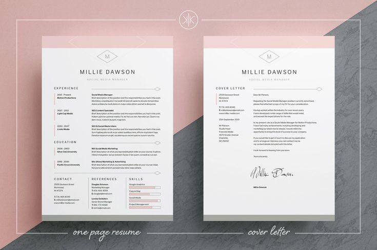 Resume/CV   Millie by Keke Resume Boutique on @creativemarket
