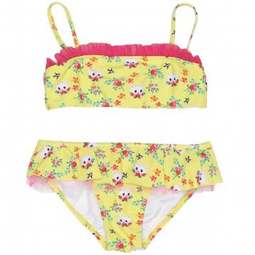 Gele bikini van Mim-Pi. De bikini heeft een allover poezenprint en tulen details. Het topje heeft verstelbare schouderbandjes