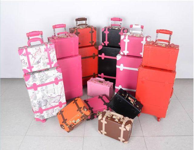 Vintage PU saco de viagem de bagagem casado malas femininas, 14 20 22 24 conjuntos de bagagem de viagem PU retro