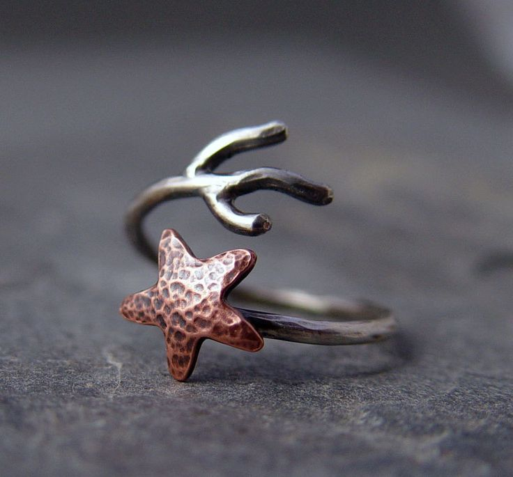 Copper Starfish Coral Branch Adjustable Ring, Starfish Ring, Ocean Jewelry, Gifts under 40.00, Handmade. $35.00, via Etsy.