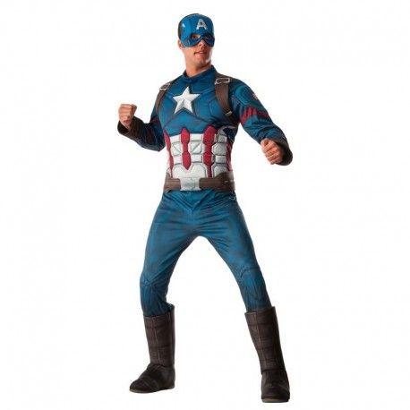 Disfraces Personajes hombre | Disfraz de capitán América de lujo. El auténtico modelo del Capitan América con todo lujo de detalles. Contiene cubrebotas, buzo de cuerpo entero decorado en 3D y máscara/gorro para la cabeza. Talla M/L 89,95€ #CapitanAmerica #disfrazcapitanamerica #disfraz #superheroe #disfrazpersonaje #disfraces