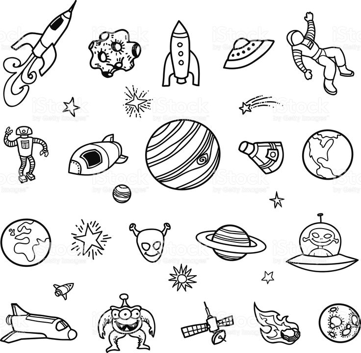 A set of handdrawn, unfilled line drawings of space ships
