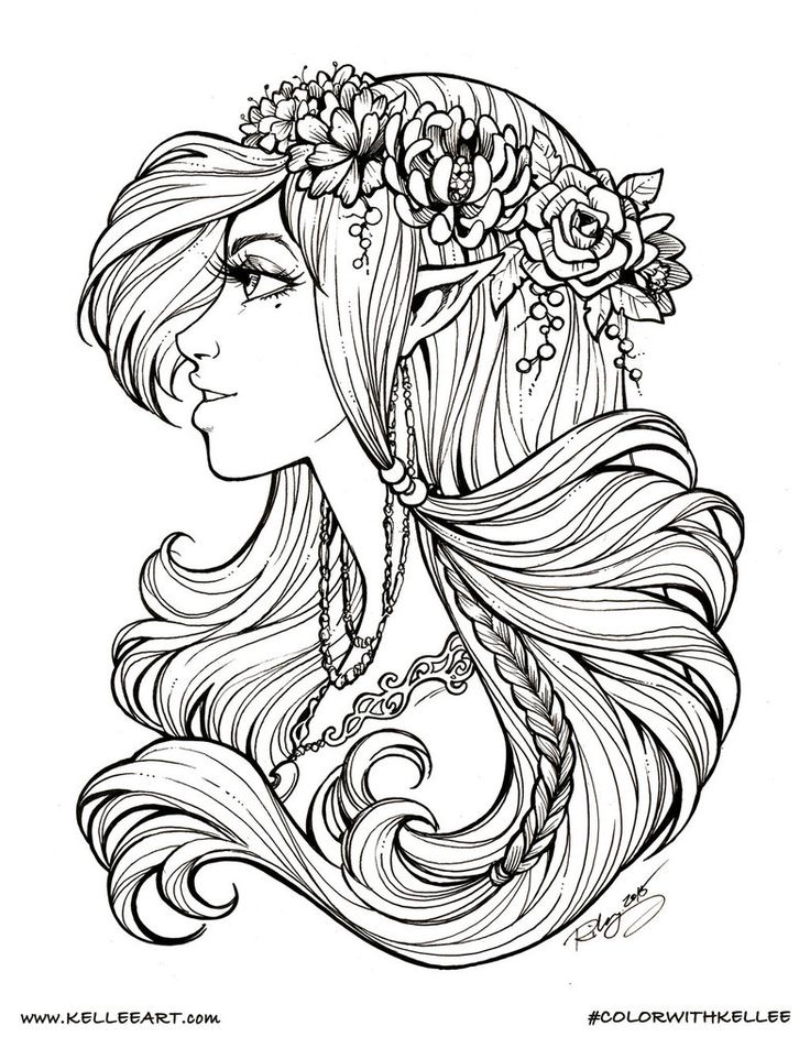 adult coloring pages coloring books female art art therapy elves art photography deviantart tattoo witch