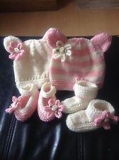 Handknitted Pink/Cream Teddy Hat set - 4 items prem baby/reborn/doll for sale in my eBay shop - dollie.daydreams