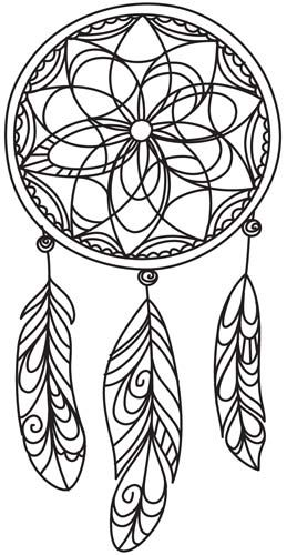 delicate dreamcatcher coloring page - Dream Catcher Coloring Pages