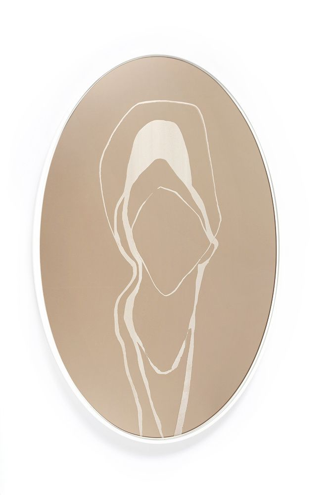 """Bronze/White Large Oval Mirror   18"""" x 28""""   laser-engraved figure on bronze mirror with white lacquered MDF backer"""