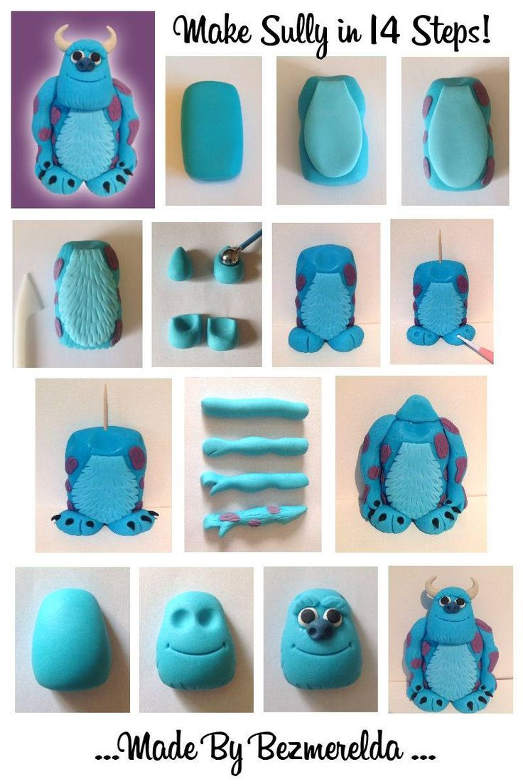 Sugarcraft Tutorial and step by step of Sully from Monsters Inc by Buttercups by Bezmerelda.