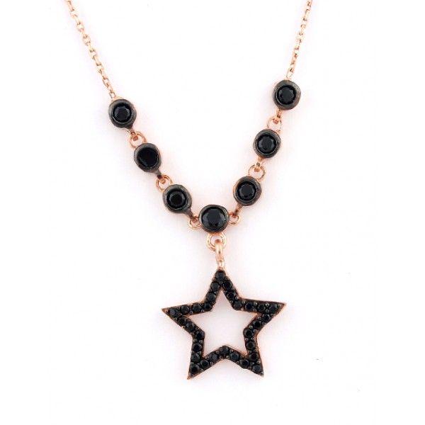 Yıldız modelli, zirkon taş işlemeli, 925 ayar gümüş bayan kolyesi