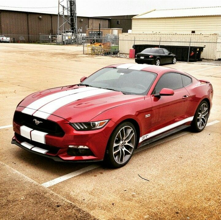 2015 red ford mustang gt with white double stripes
