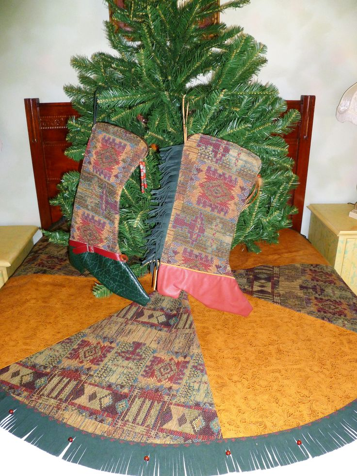 Southwestern Christmas Tree Skirt listed on EBay