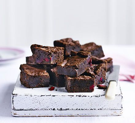 Vegan cherry & almond brownies. Deeply rich and decadent, this dairy- and egg-free chocolate bake makes an indulgent vegan treat