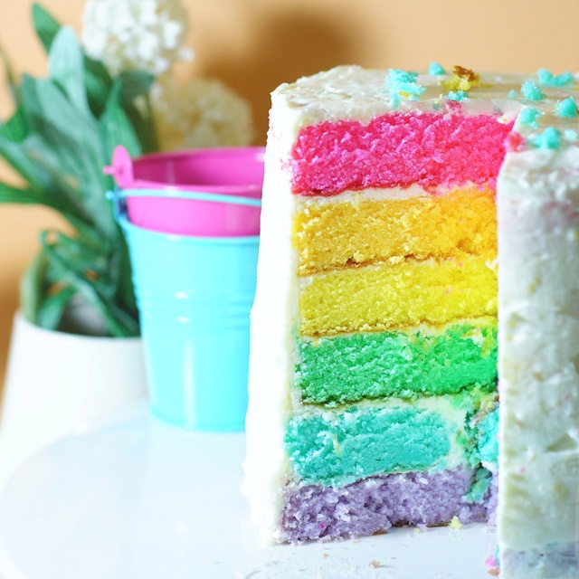 It's home made rainbow cake