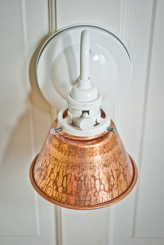 5-3/8'' Unfinished Copper Cone Shade Wall Sconce  Light - White Finish