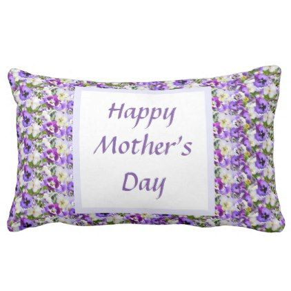 Custom Floral Happy Mother's Day Lumbar Pillow - purple floral style gifts flower flowers diy customize unique