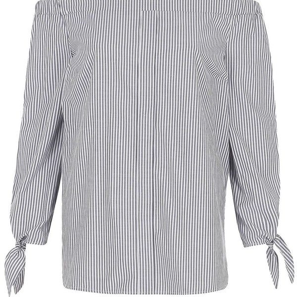 River Island Grey stripe print long sleeve bardot top ($56) ❤ liked on Polyvore featuring tops, bardot / cold shoulder tops, grey, women, long sleeve cut out shoulder top, striped tops, tall tops, bow top and striped long sleeve top