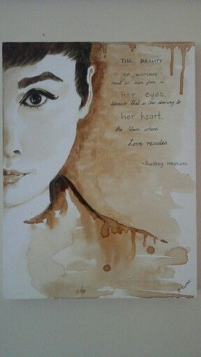 Audrey Hepburn painted with coffee,   cathcurrie.etsy.com