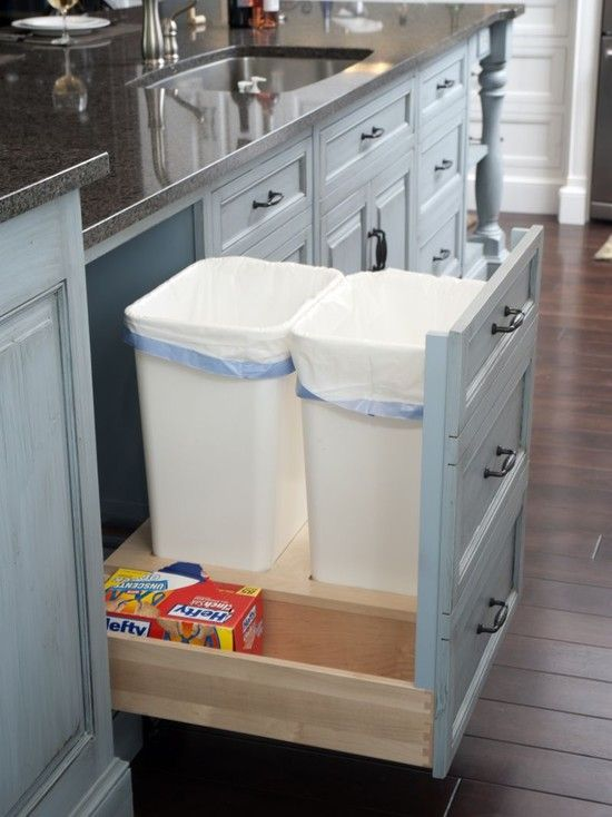 Kitchen Ideas: Cabinets, Kitchens Design, Traditional Kitchens, Bags Storage, Kitchens Ideas, Houses Ideas, Trash Bins, Drawers, White Kitchens