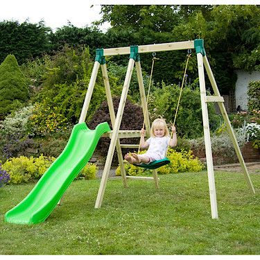 TP334 Single Swing and Slide Combi --why can't I find in thing like this in the U.S.?? Our tiny yard requires a tiny swing set!