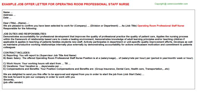 operating room professional staff nurse offer letter appointment templates free sample example format