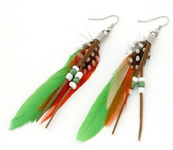 Shopo.in : Buy Parrot Green Feather Earrings online at best price in Kolkata, India