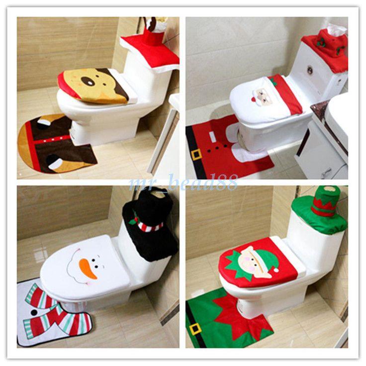 3Pcs/Set Christmas Xmas Party Decor Seat & Cover & Rug Bathroom Ornament