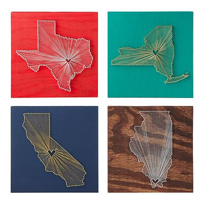 heart strings state love wall art from uncommongoods.comCrafts Ideas, States Art, Gift Ideas, Heart Shapes, Heart String, String Wall Art, String Art, Diy, String States