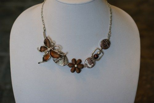 Brown butterfly necklace, brown short necklace, unique necklace  | LesBijouxLibellule - Jewelry on ArtFire