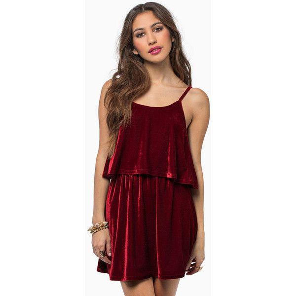 Tobi Moonlight Velour Dress (105 HRK) ❤ liked on Polyvore featuring dresses, red, tobi dresses, tiered dresses, red tiered dress, velour dress and no sleeve dress