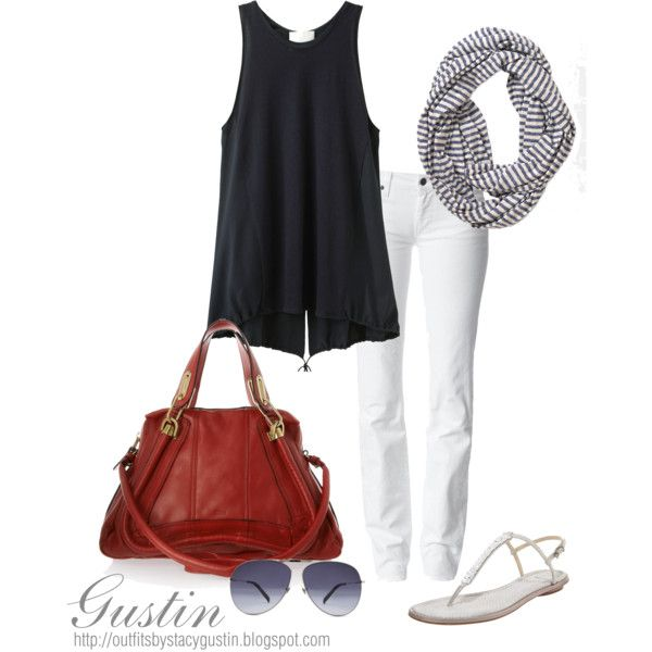 Love this!: Fashion, Style, Black And White, Clothing, Dress, Outfit, Black White, Polyvore, Red Bags