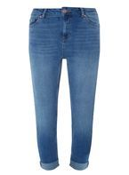 Womens Mid Wash Straight Fit Jeans- Blue