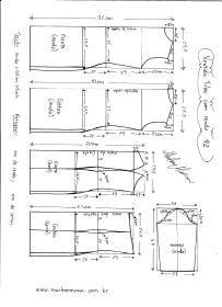 Esquema de modelagem de Vestido Tubinho com Renda e manga 3/4 tamanho 42.