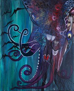 """NA KIKA"" Oil on Canvas Framed 24"" x 20"" 2017 #painting #oilpainting #nakiki #octopussgod #sea #islands #rocks #army  #symbolism #originalart #mythological #art #artcollecting #artbuyers #artlovers #artcollectors #emergingartist"