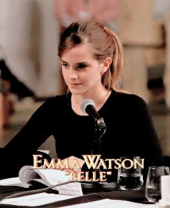 "Emma Watson: ""Guinevere and Lancelot.""  Dan Stevens: ""King Arthur and the round table.""  Emma Watson: ""Still a romance.""  gif"