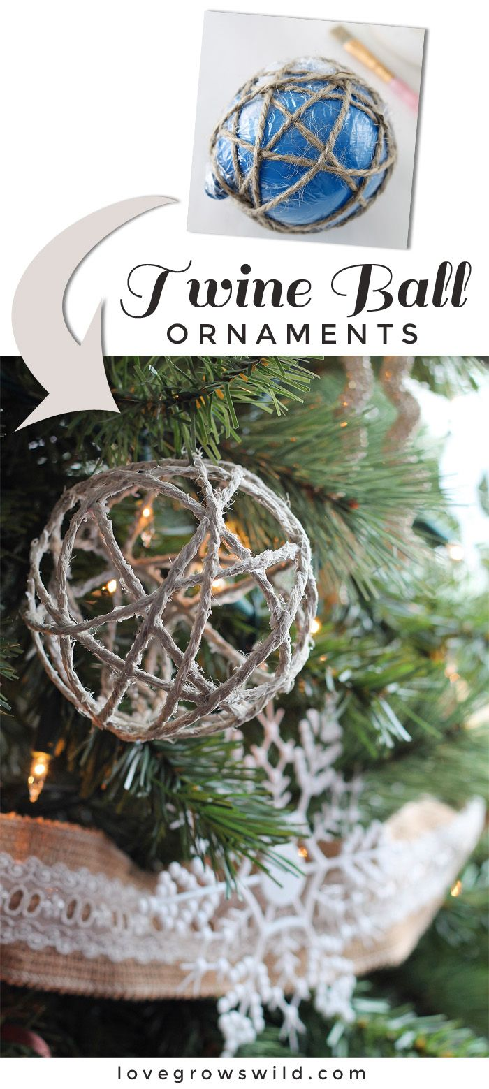 These handmade Twine Ball Ornaments are perfect for adding a little rustic charm to your tree! See details at LoveGrowsWild.com