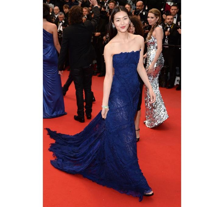 Li Wen in custom Robeto Cavalli paired with Chopard jewelry and Jimmy Choo heels
