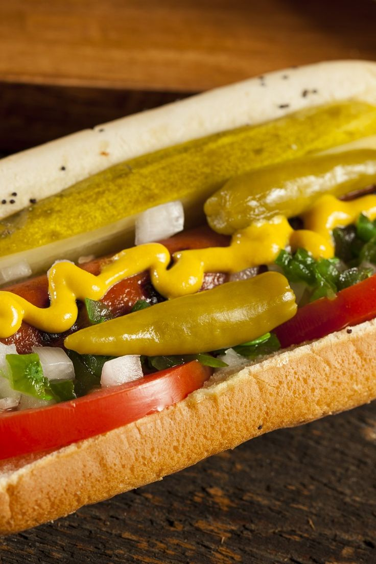 Course(s): Entrée; Ingredients: celery salt, dill pickle, hot dog, hot dog bun, onion, pepper, pickle relish, tomato, yellow mustard
