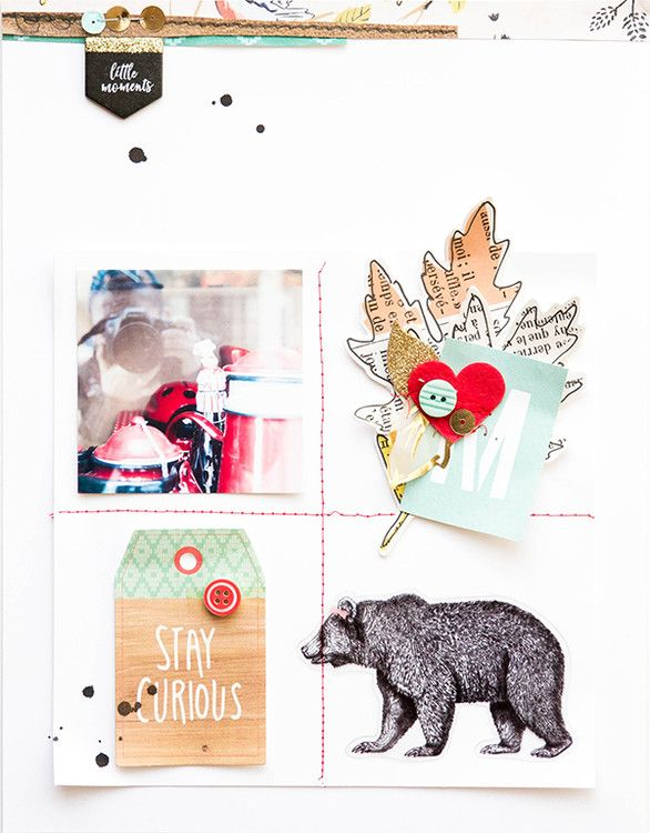 Stay curious grid scrapbook page by marivi at @studio_calico also good composition for other projects....and I the graphic bear