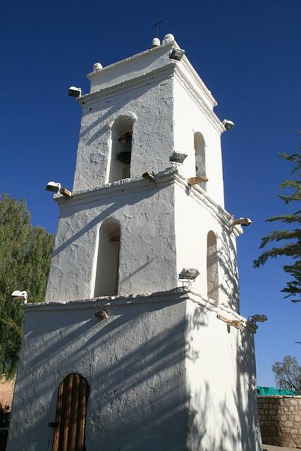 Tower  Toconao village, near San Pedro de Atacama, Chile.