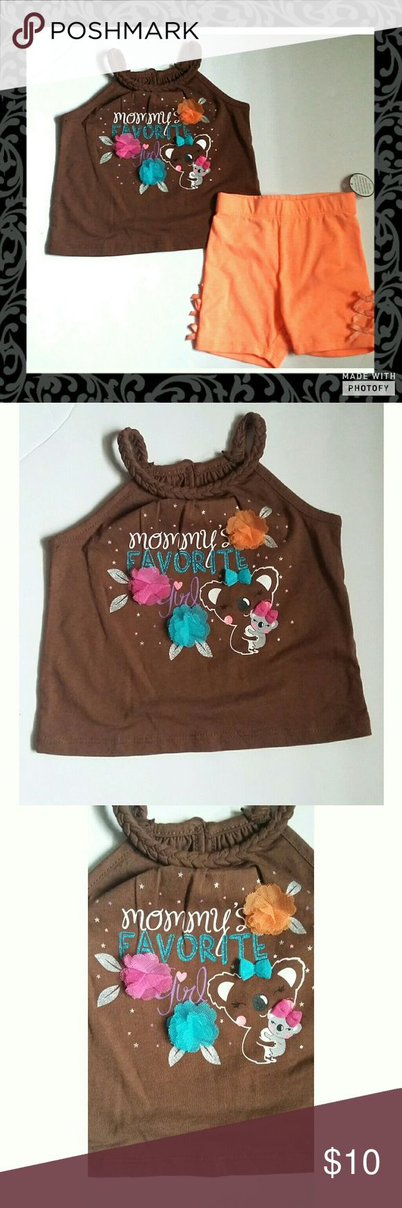 🌟20% Off 2🌟Mommy's Favorite Girl Outfit Come with thin strap braded top and bike shorts. Top says mommy's favorite girl with a mommy and baby kola on it. Bike shorts are orange with little bows on the sides. New without tags. Wonder kids brand. Size 12 months . Polyester cotton blend material Wonder kids  Matching Sets