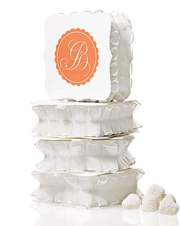 What a frill: Ruffly boxed favors are so cute.: Wedding Favors, Monograms Favors, Favors Galleries, Monograms Galleries, Gifts Wraps, Ruffles Ribbons, Boxes Favors, Favors Boxes, Martha Stewart Weddings