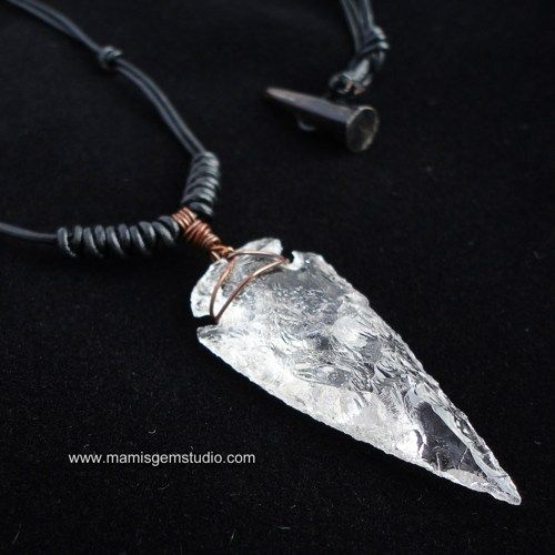 Hand Knapped Rock Crystal Quartz Arrowhead Pendant with Braided Black Leather Cord - Handmade Mens Necklace, Unisex $28.95