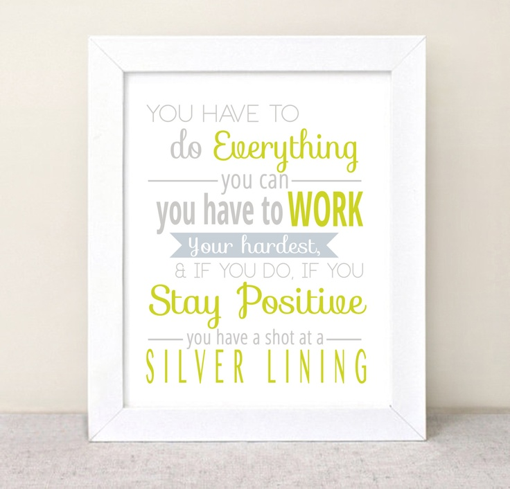 Silver Linings Playbook Quote  - Typography Poster - Quote Print - Typographic Print - lime green or mint green - 8x10. $15.00, via Etsy.
