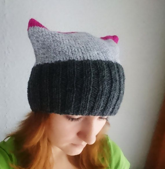 Amaranth and grey pussy cat hat Knitted pink by MKedraHandmade