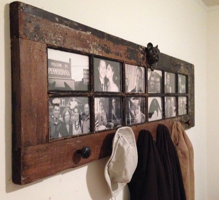 Old French door re-purposed as a picture frame coat rack