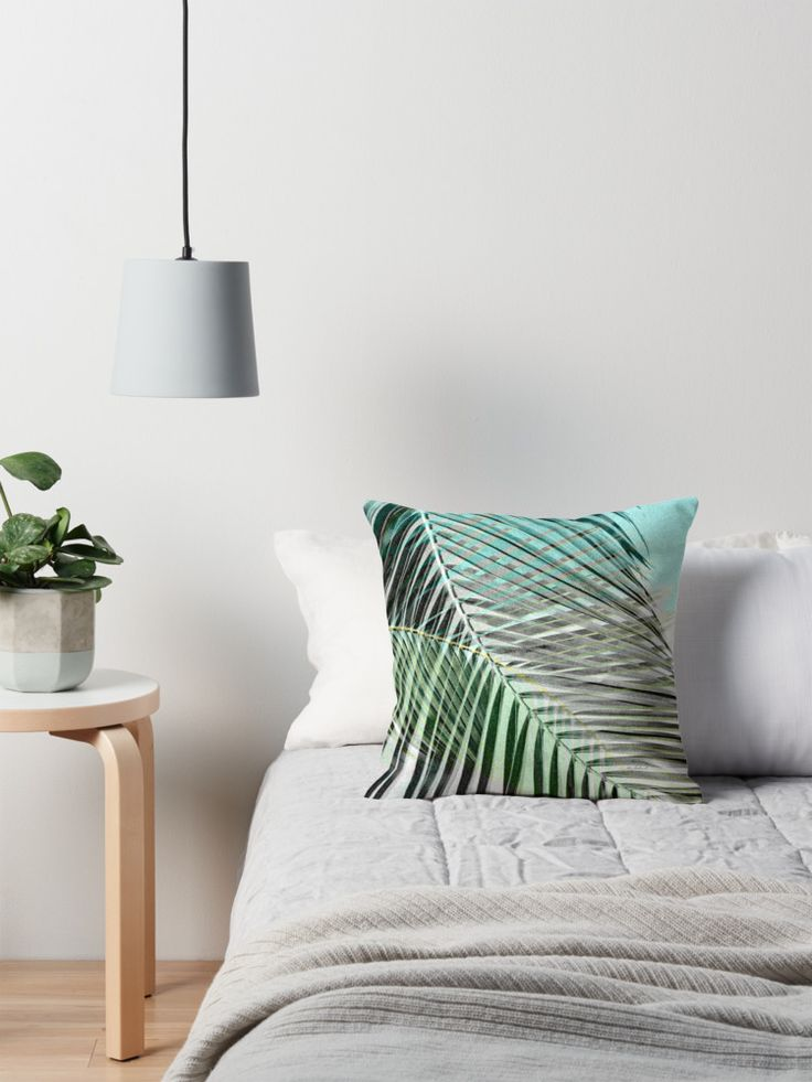 Transition: Greys Become Color Throw Pillow, new, #tropical palm leaf #jungle #art on #home #fashion #accessories. Perfect for that soft island look, in bedroom or living area. Coordinating products are available.